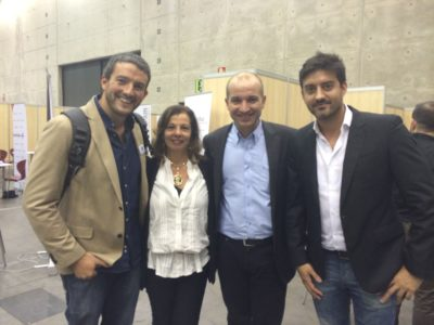 Tras la mesa redonda sobre emprendimiento local innovador, con Pilar Clemente, Javier González Cardona y Jonathan Delgado.